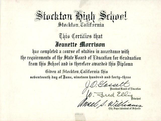 Janet Leigh- High School Diploma