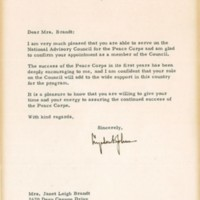 Janet Leigh- Peace Corps letter